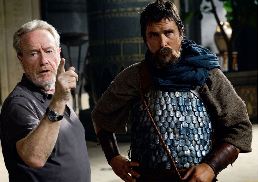 Christian Bale and Ridley Scott Christian Bale And Ridley Scott On Exodus Set